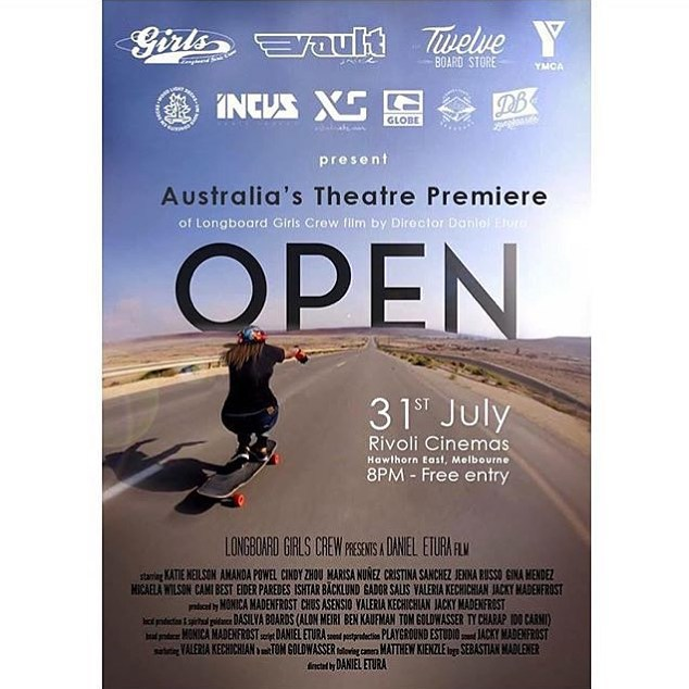 Who attended the premiere of OPEN in Melbourne Australia last night?? Thanks to @jennarus and all the other sponsors who made it happen. You bring girls together! @longboardgirlscrew #danieletura #LGCOPEN #longboardgirlscrew #xshelmets #girlswhorip...