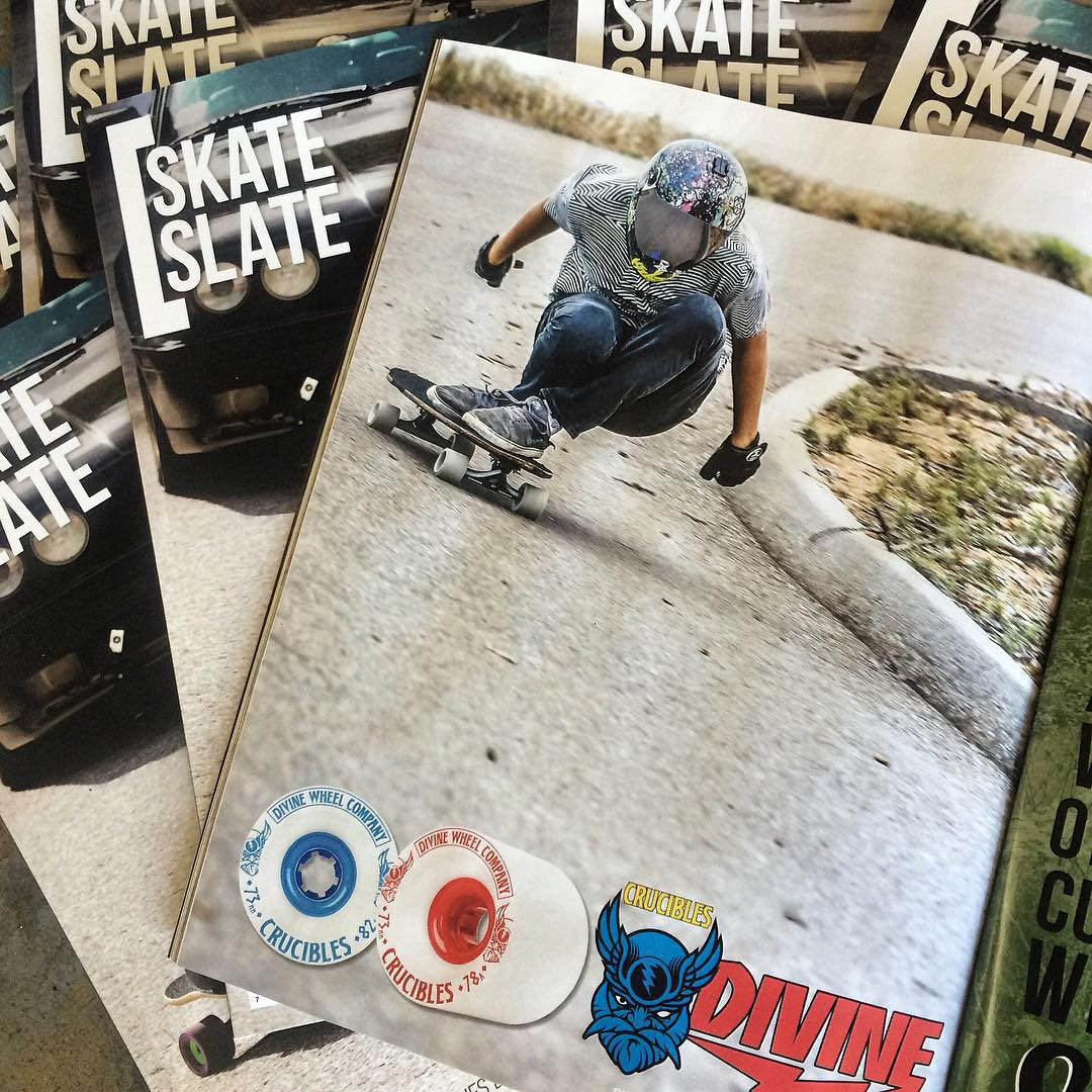 The latest issue of @skateslate just dropped. Filled with rad content and this banger ad featuring @levipurple. Grab a copy, get stoked, go skate. #divinewheelco #divinewheels
