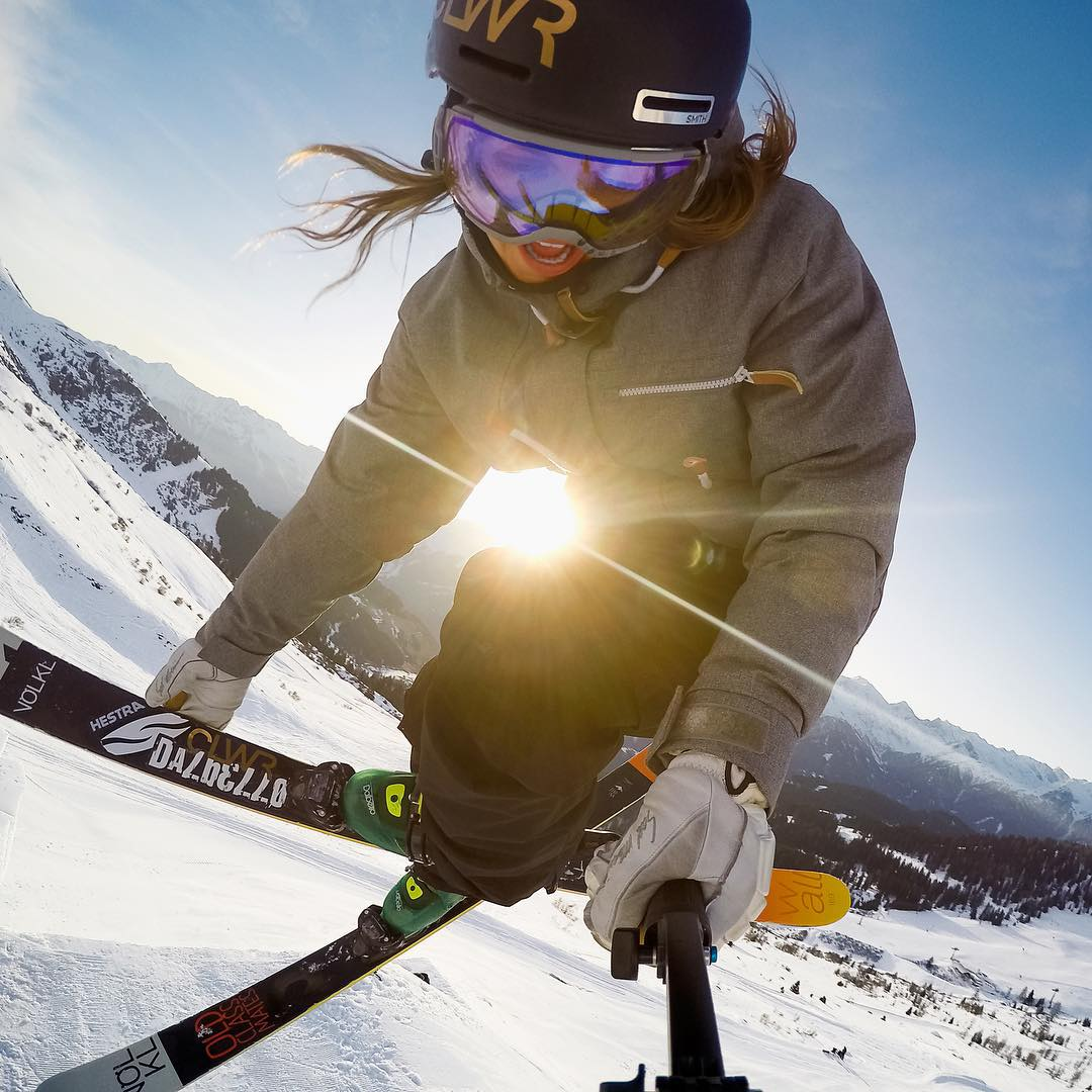 Swedish skier @emmadahlstrom_ throws down in the park with her #HERO4Session. Learn more at gopro.com/Hero4-Session #GoPro #ski