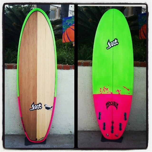 Lost 5'8 Couch Potato #ecoboard. For a lucky silent auction winner from a recent fundraiser. Wish this was going our own quiver! @mayhemb3_mattbiolos @etechboards @lostsurfboards