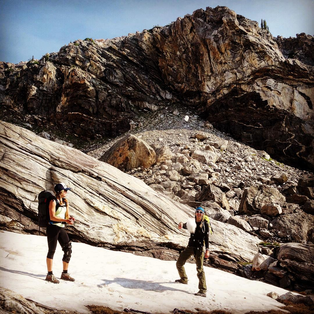 Snowball fights in August. @Bree.buckley @kyehalpin #mountainbabes #avalon7 #liveactivated #adventuremore www.avalon7.co