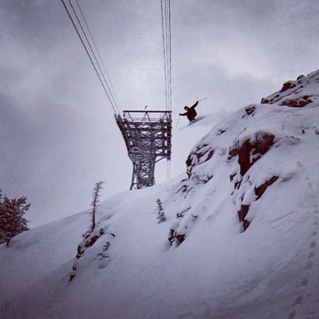 @calvinhawley sending it large today @snowbird ! #kittenfactory #snowbird #utah #wasatch #skiing #olympics