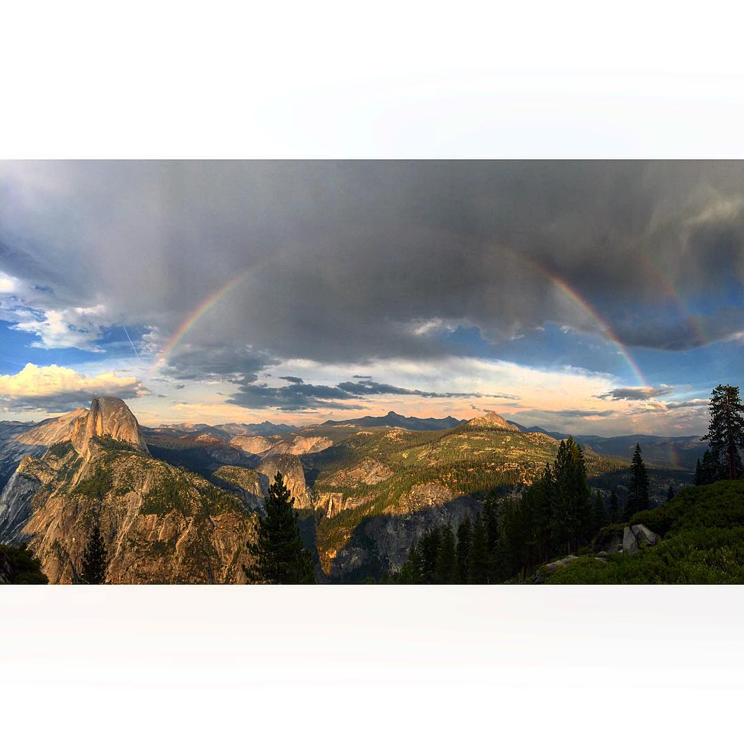 I mean you don't see this everyday. I feel totally lucky for the chance to even be @YosemiteNPS again this summer. But this!!! Total face melt! #DoubleRainbow + #halfdome + #sunset = mind blown