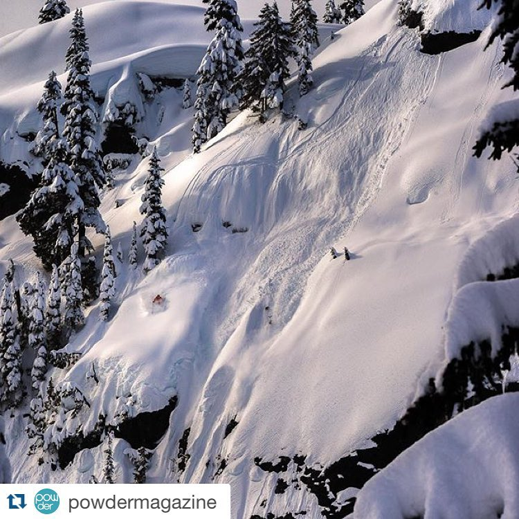 #Repost @eric_hjorleifson finds the sweet spot in the Whistler backcountry. Photo by @robinoneill #PowderToThePeople