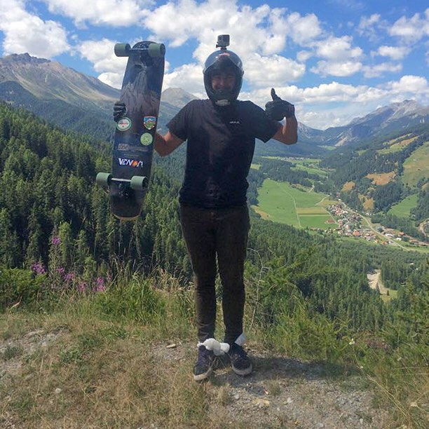 Team rider @garrett_creamer stoked as ever in the Swiss alps with the Keystone 39! (Photo by @speedscientist ) #dbkeystone #swissalps #longboard #longboarding #longboarder #dblongboards #goskate #skateboard #skateeveryday