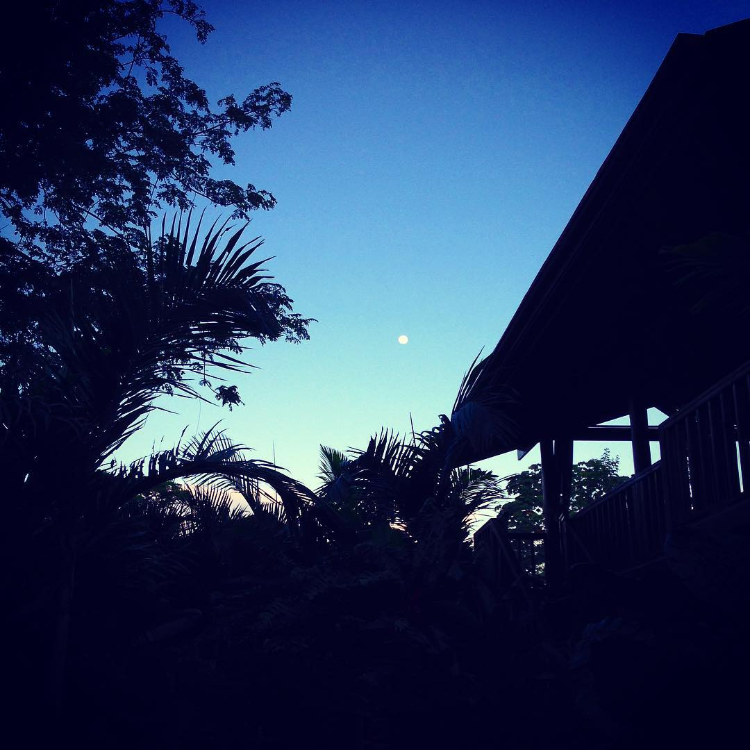 Early morning moonrise over Bodhi Surf Lodge