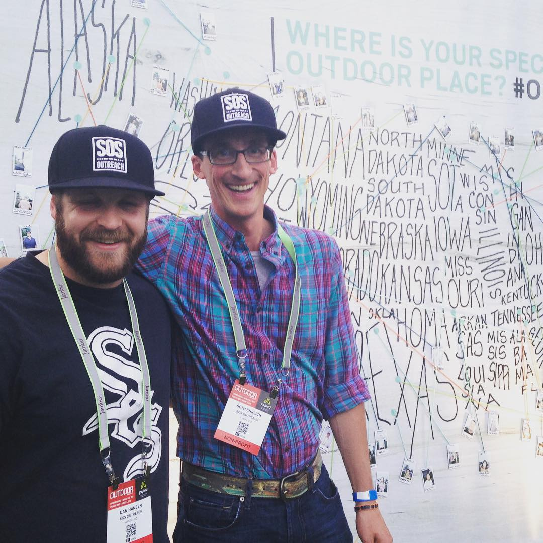 We made it to #ORshow!  First stop - The Outsiders Ball.  SOS made it to the #outdoorist map! #BallforAll @outdoorindustry