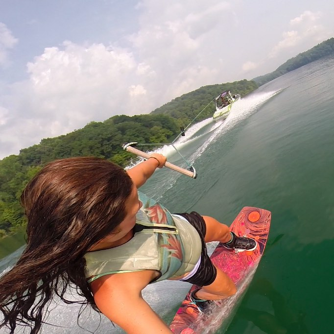 Our doc @adelgoffe enjoying a glassy set on the O'Shea Pro 135 and Howl boots #wakeboarding #gopro