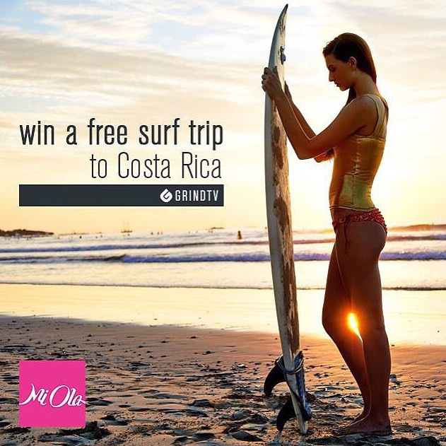 Get stoked in COSTA RICA! Enter our sweeps with @grindtv for a trip for 2, MI OLA gear, and a whole bunch more ☀️ Details in our profile link! #getoutthere #winitwednesday #humpdaymotivation #surftrip