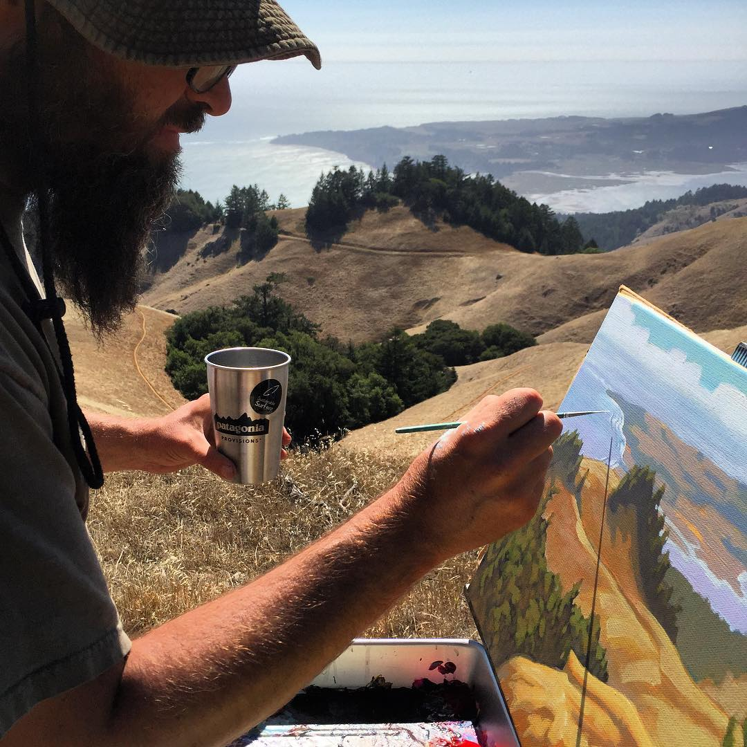 "Fun hanging out with our painter  pal Matt @beardart recently, as he floated through the highlands of Marin on his ""Plein Air"", #VanLife mobile studio, painting tour of the whole CA coastline ! --- We made sure he was properly ""hydrated"" and well fed..."