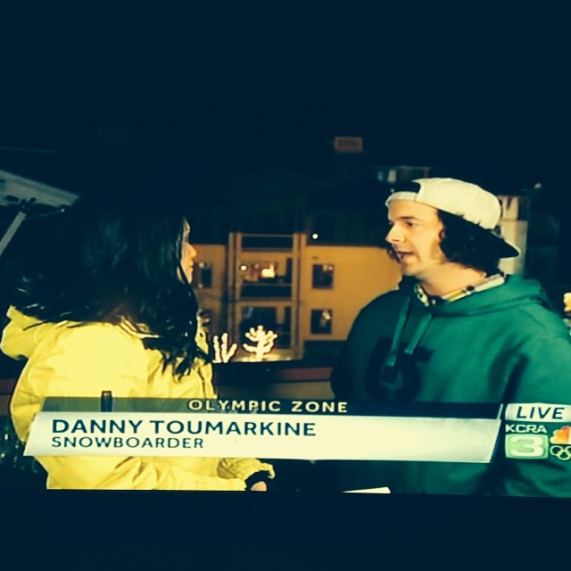 #highfivesathlete @dannytoumarkine on KCRA 3 talking about the #Olympics Slopestyle