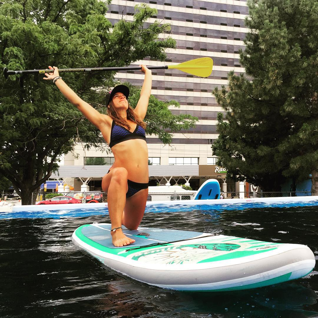 Free flow'n at the @outdoorretailer Sup Tank on my @boardworkssurfsup Shubu Muse #welivewater @localhoneydesigns
