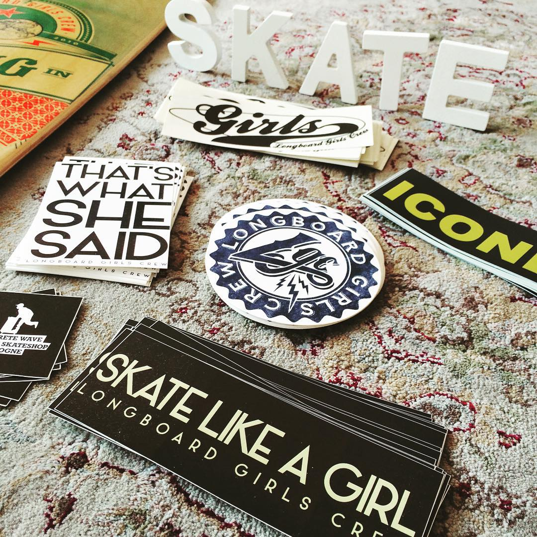 LGC stickers, anyone?  Get some in longboardgirlscrew.com/shop  Worldwide shipping included ⚡️ #longboardgirlscrew #womensupportingwomen #girlswhoshred #skatelikeagirl #thatswhatshesaid #stickers #lgc #candy