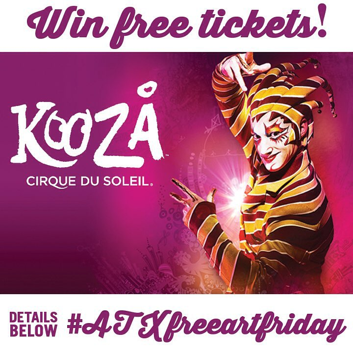 Happy #atxfreeartfriday Austin!! • • Today is a special game day! Spratx has partnered with @cirquedusoleil to bring you a chance to win 2 tickets to the premier of #KOOZA Thursday Sept. 3rd!! • • We have placed 5 customized posters throughout the city...