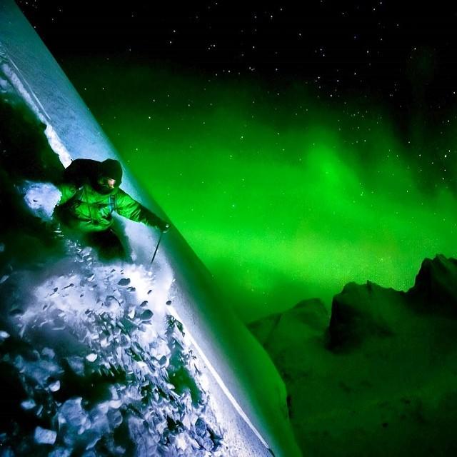 Skier under Aurora Borealis.  Amazing!  #pakems #skiing #picoftheday #auroraborealis