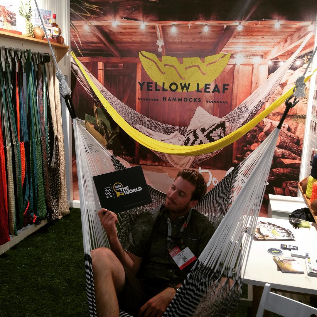 "100% handwoven in Thailand and creating jobs with ""prosperity wages"" away from slash and burn agriculture @yellowleafhammocks is showing Outdoor Retailer how to #dogoodrelax & #BtheChange ... how do you relax?"