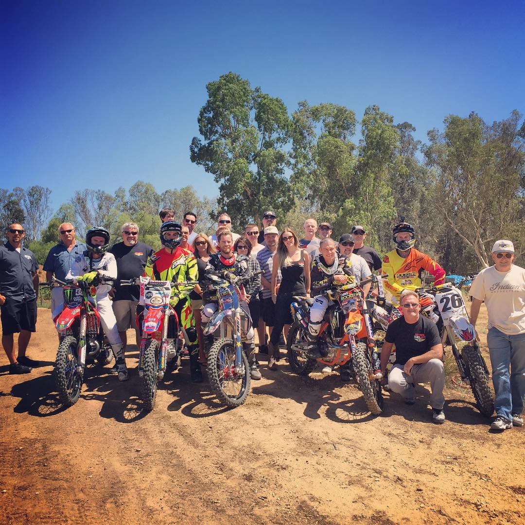 Great having the @mickeythompsontires team out at my compound today! Thanks @ronniefaisst @garlandfmx @toddpotter1 and @nateadams741 for coming out to ride and put on a show for everyone