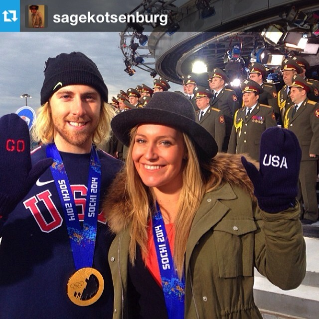 #teamUSA representing in the debut of Snowboard Slopestyle in Sochi.  #Repost from @sagekotsenburg