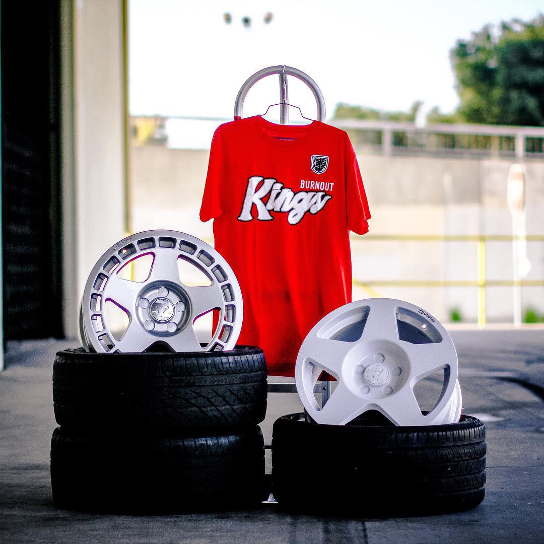 Burnout Kings Tee now in red on our site (click link in bio)! @fifteen52 wheels not included.