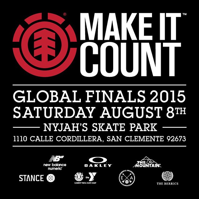 TODAY! The #elementmakeitcount Global Finals at @nyjah's park in San Clemente. Winners from all over the world will compete for a shot at element sponsorship >>> the event is open to the public, come see these dudes rip! Contest starts at 5pm...