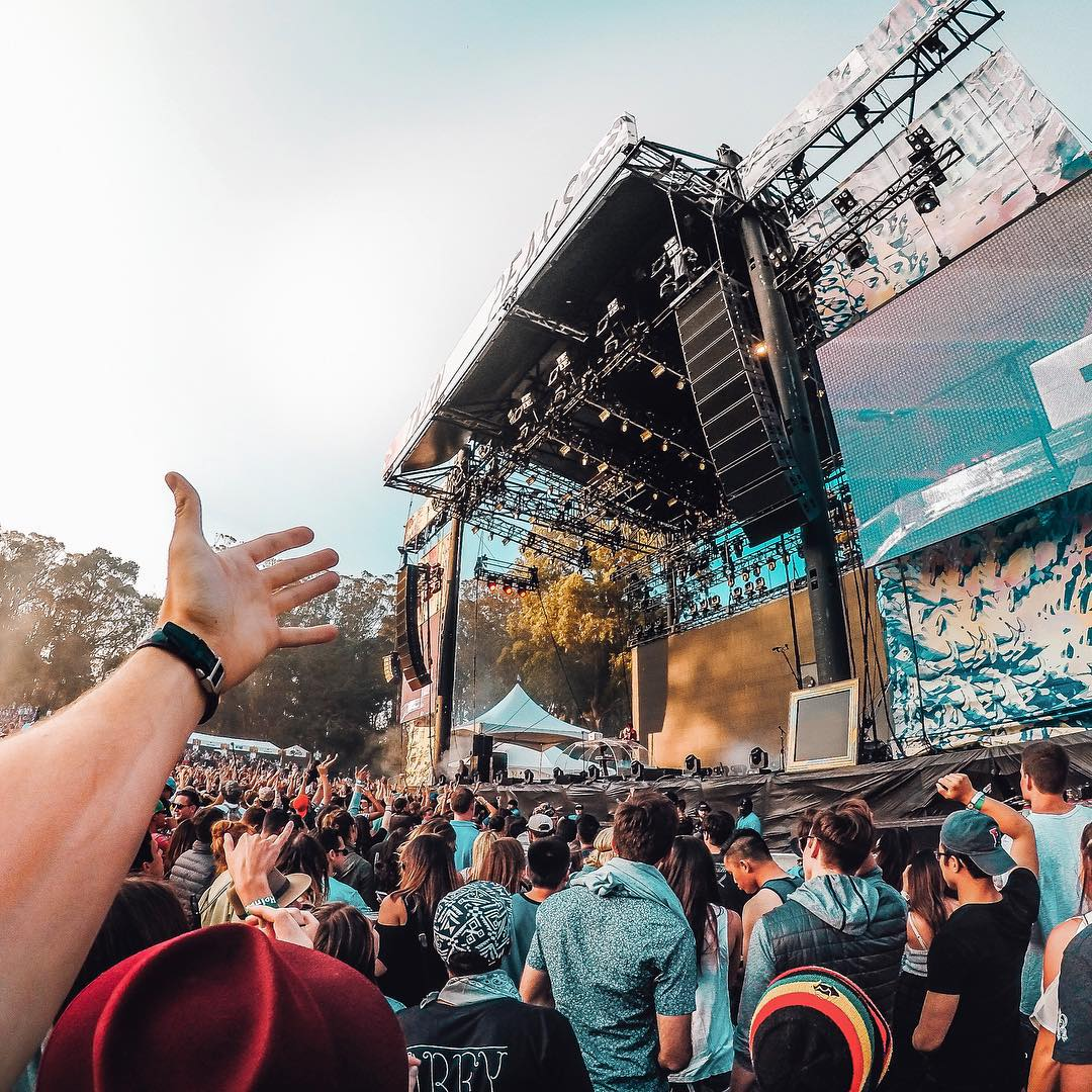 At @sfoutsidelands it's all about the music. @mattjkomo enjoying the festival vibes!  See exclusive content from Golden Gate Park all weekend long by clicking the link in our profile. #OutsideLands #GoProMusic #LiveOutside