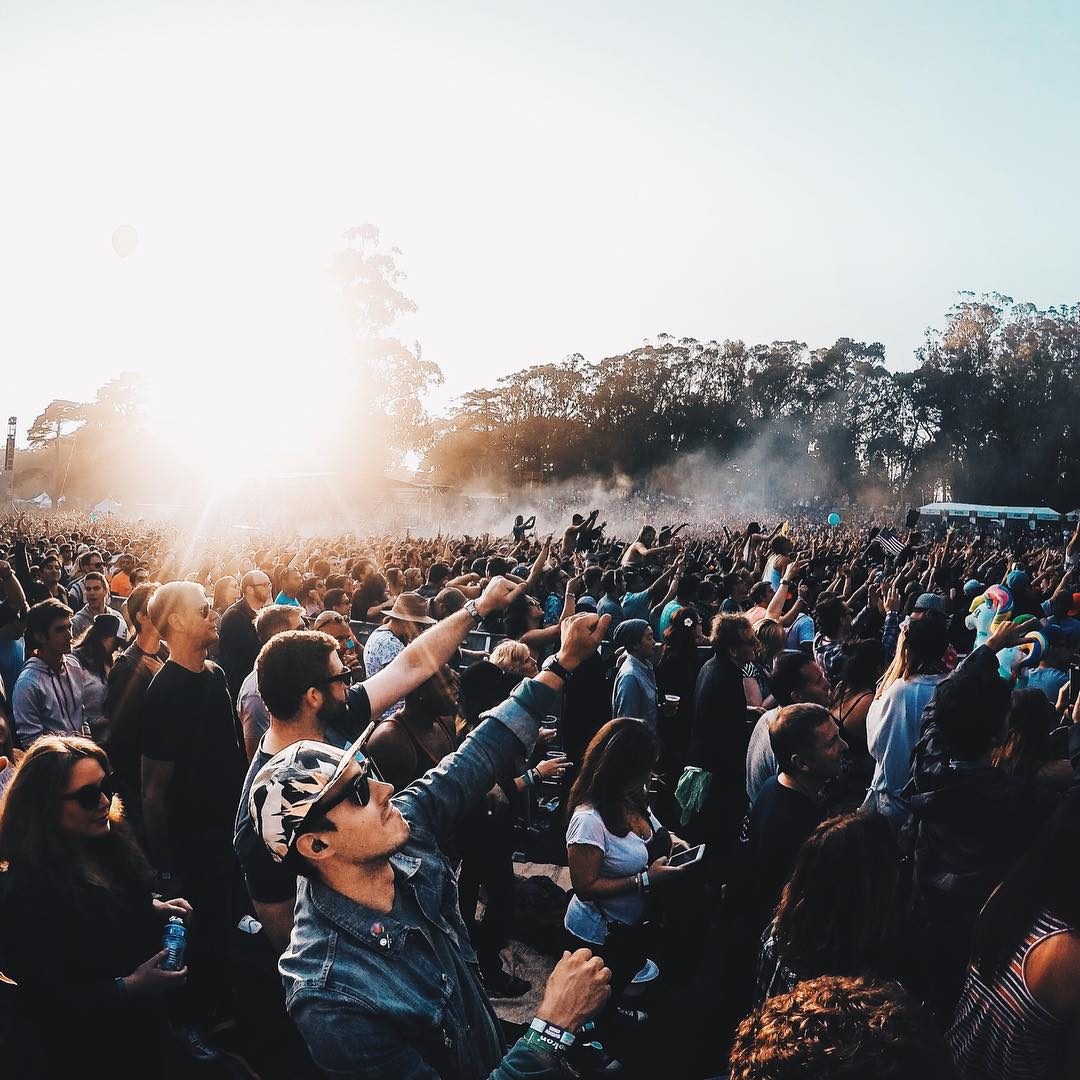 It's golden hour at @outside_lands.  We hope you're with your friends living in the moment!  Photo by @mattjkomo.  #OutsideLands #SanFrancisco #GoProMusic #LiveOutside