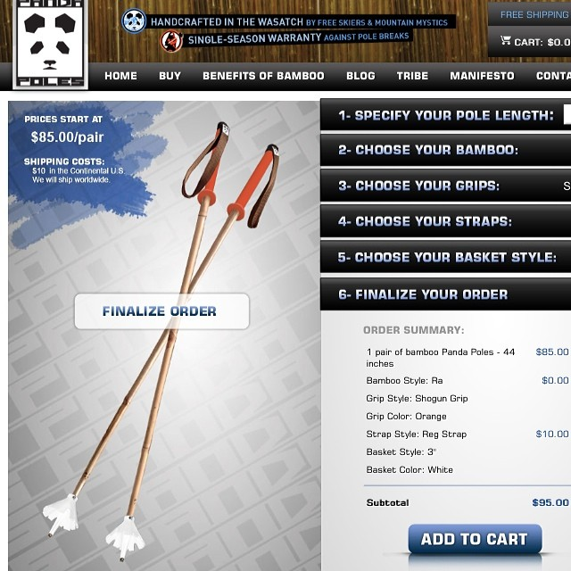 "Panda Poles combo of the day: ""Creamsicle"" ($95 as pictured). There are over 1100 different possible poles combinations on our website! To find your perfect pair today go to: www.pandapoles.com/priducts/panda-pole  #pandapoles #custom #magicskiwands"
