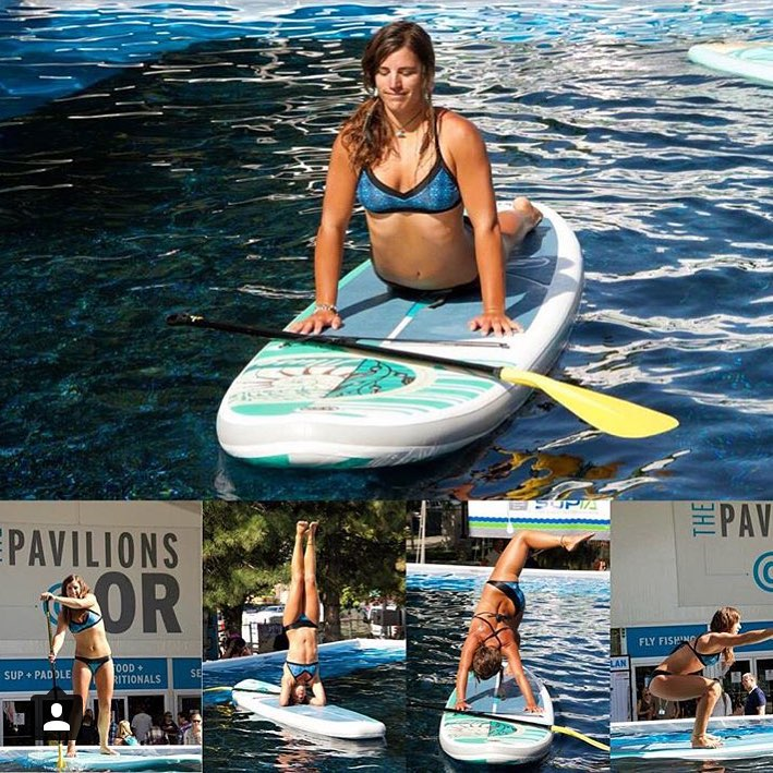 @nautilussup demoing the beautiful new Muse inflatable SUP by @boardworkssurfsup at @outdoorretailer this weekend in Salt Lake City. Beautiful #abalone inspired print in her new black Moorea bottom and Sarah top! #localhoneydesigns #workhard #playhard...