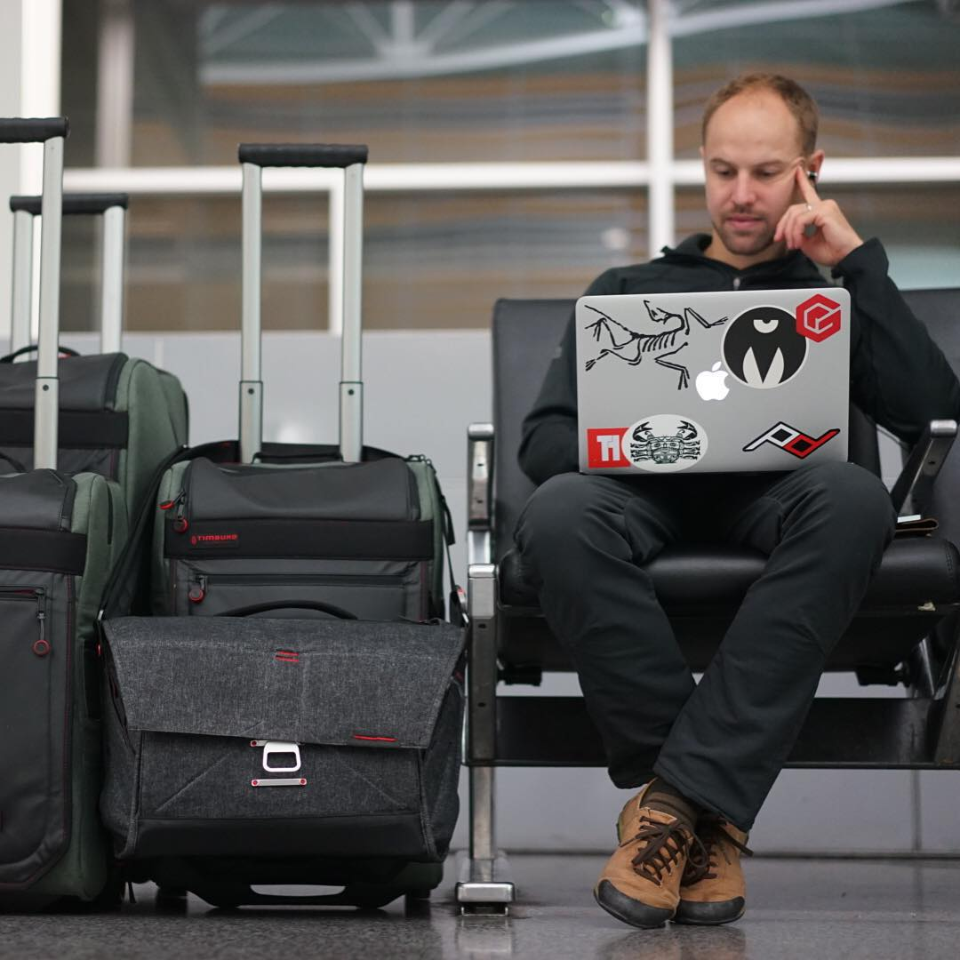 The Everyday Messenger chilling with lead #peakdesign designer @artviger at the San Francisco airport. Art and @lockettphotos are heading to Vietnam to finalize production of the bag, which has now raised over $1.8 million on Kickstarter. Thank you...