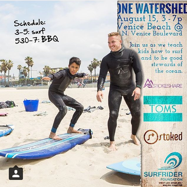 This Saturday 8/15, @stoked_la is partnering up with @stokeshare and @surfriderwlam to take kids surfing! If you have foam boards or wetsuits for the kids to use, bring them along or put them up on stokeshare.com. We're stoked to be part of this!...