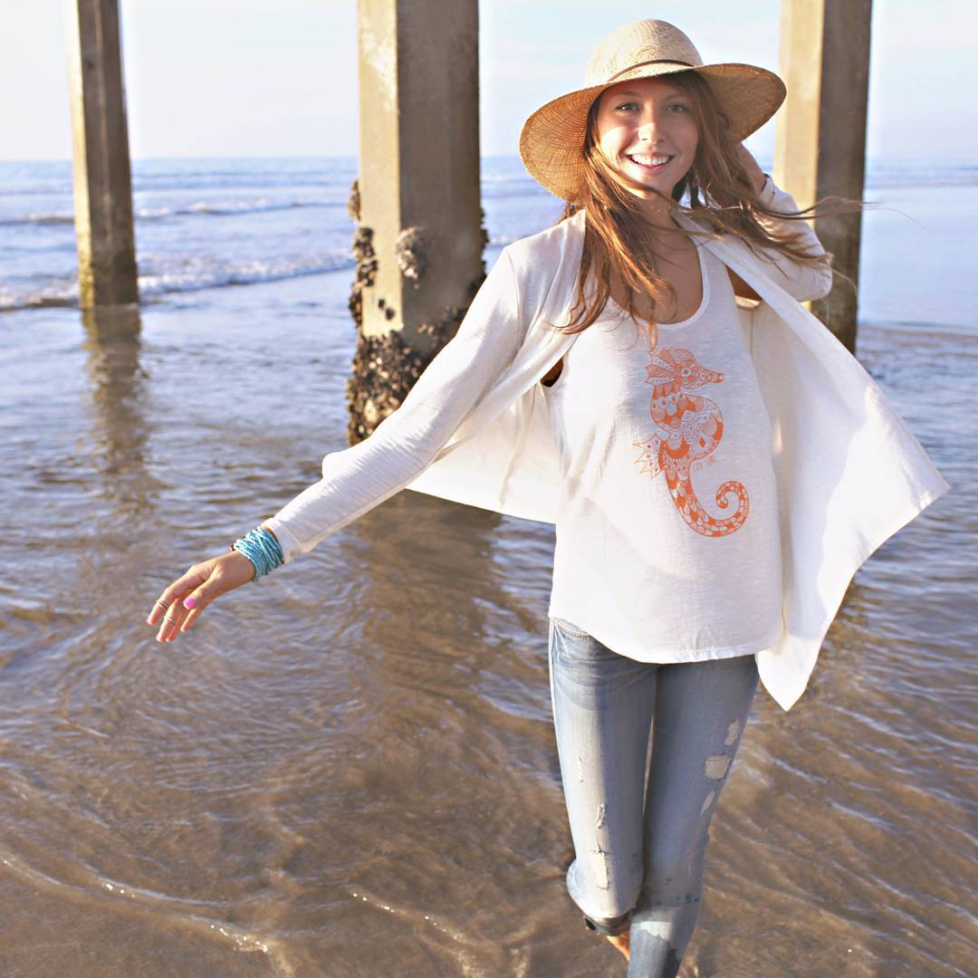 The ocean is calling.... // photo cred: @katherinebethphotography #oceanminded #luvsurf #seahorse #smile #beach #mornings