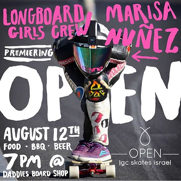 Join us at @daddiesboardshop TONIGHT for the #PDX premiere of OPEN, movie featuring @longboardgirlscrew riders in Israel. XS riders @cocomarii and @iamcindyzhou will be there for BBQ, beer and the movie