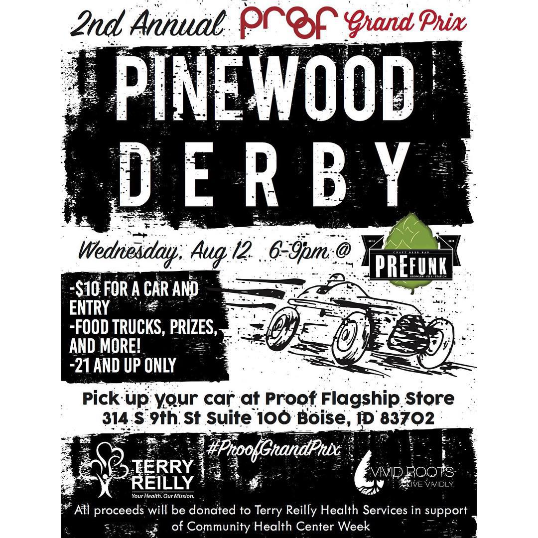 Boise— We're calling out all grown adults who want to relive their childhood dreams! Meet us at @prefunkbeerbar at 6p for our 2nd Annual Proof Grand Prix. Come get your derby cars & register today at @proofboise! #ProofGrandPrix