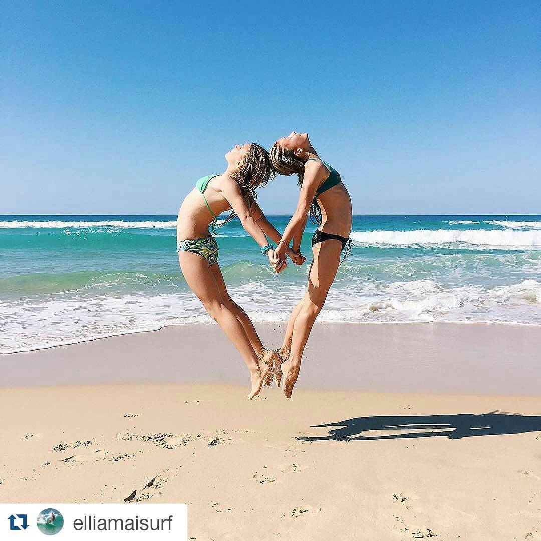 Best friends and the beach // tag your best mermaid gal pals and let 'em know why they're the raddest!! #luvsurf #bestbuds #mermaidsforlife #beach #love #forever || #repost from @elliamaisurf