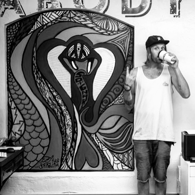 Thanks to @patmilbery for the new office wall mural. @sognarofficial #sognar #cobra #officemural #mural @plutoniumpaint #peabodyma #steezmagazine #steez