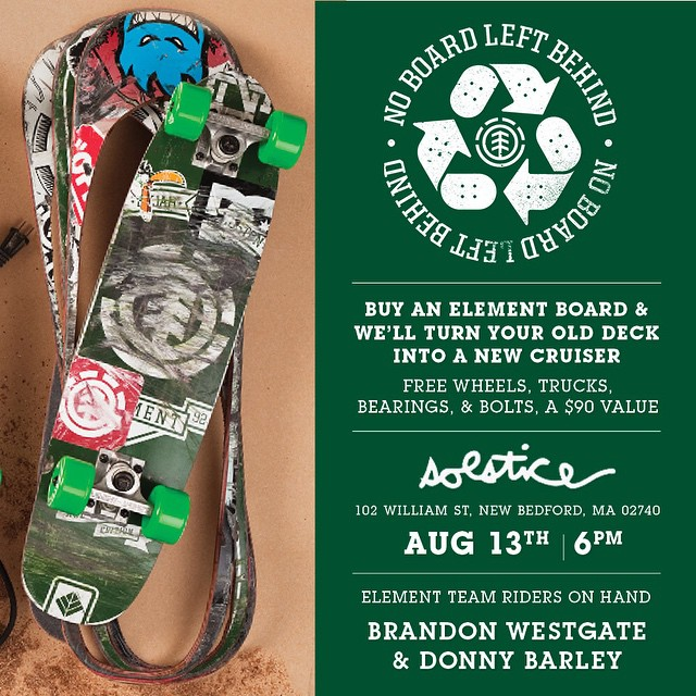 TONIGHT at @solsticeskateboarding in New Bedford, Ma we're holding a #NOBOARDLEFTBEHIND event, come bring your old board and have it cut out into a new cruiser! East coast power houses @westgatebrandon and @donnybarley will be on hand, come by and hang...