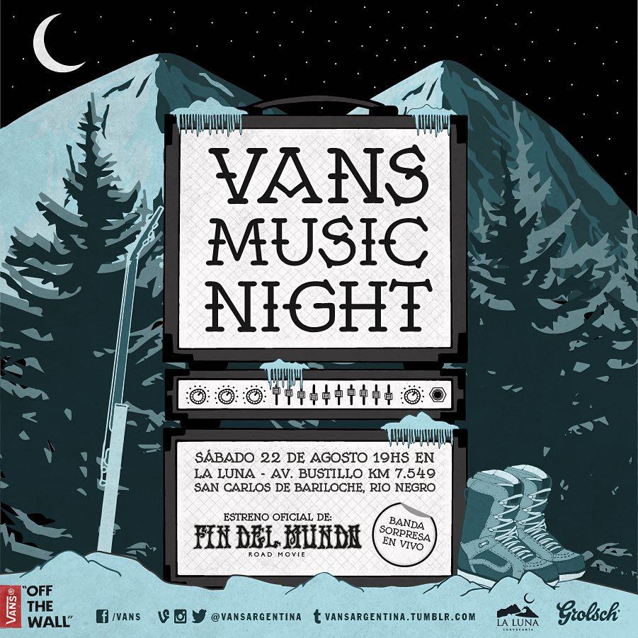 """La #vansmusicnight aterriza en Bariloche!  Los esperamos el sábado 22 de agosto en """"La Luna"""" para ver la premiere de #rsfindelmundo road movie y una banda sorpresa que te va a volar la cabeza.  #vanssnow #vansmusic"""