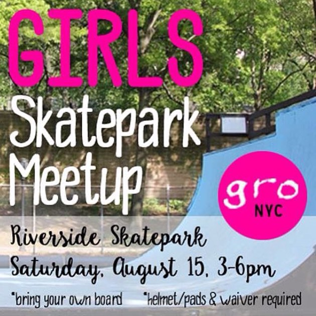 This Saturday in NYC! Come shred the mini ramps at Riverside Skatepark. 3-6pm *bring your own board/pads/helmet *all ages & abilities #skateboarding #ridetrue #girlskater #ladyskater #girlsridersorg