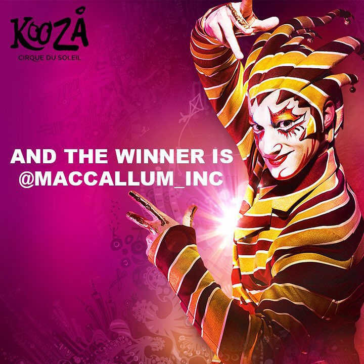 "Congratulations @maccallum_inc ! • • You are the winner of two tickets to the Austin TX. premier of @cirquedusoleil #KOOZA !! Please email us at info@SPRATX.com so we can get you your prize! • • If you ""Found the Trickster"" this past week for..."
