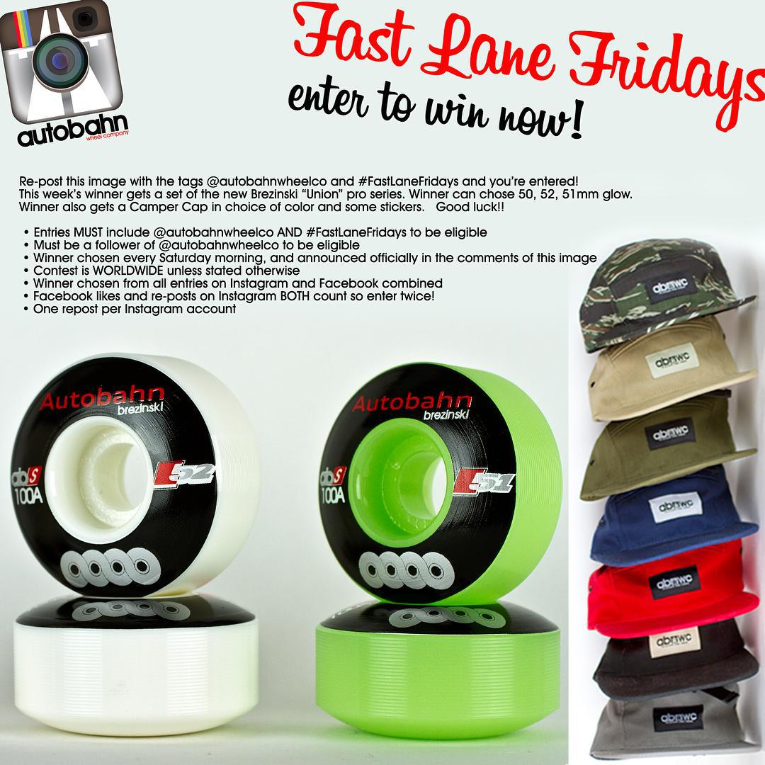 "Re-post this image with the tags @autobahnwheelco and #FastLaneFridays and you're entered! This week's winner gets a set of the Brezinski ""Union"" pro series. Winner can chose 50, 52, 51mm glow. Winner also gets a Camper Cap in choice of color and some..."