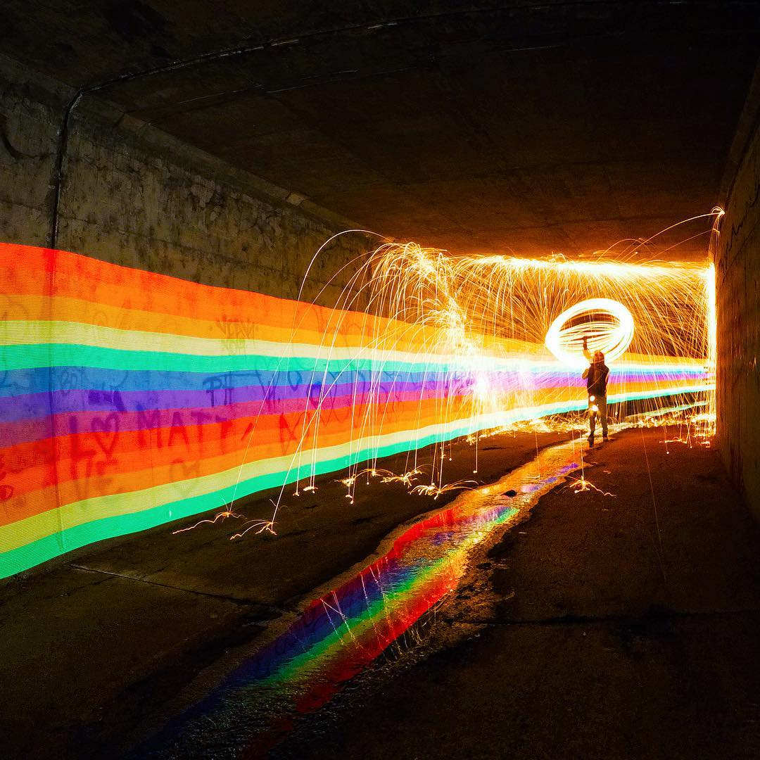 GoPro Featured Photographer - @night.crawlers  About the Shot: End of the Rainbow - We spent some time trying to find a tunnel that was pitch black, and had some cool graffiti on the walls. This spot ended up being around the corner from us in Irvine...