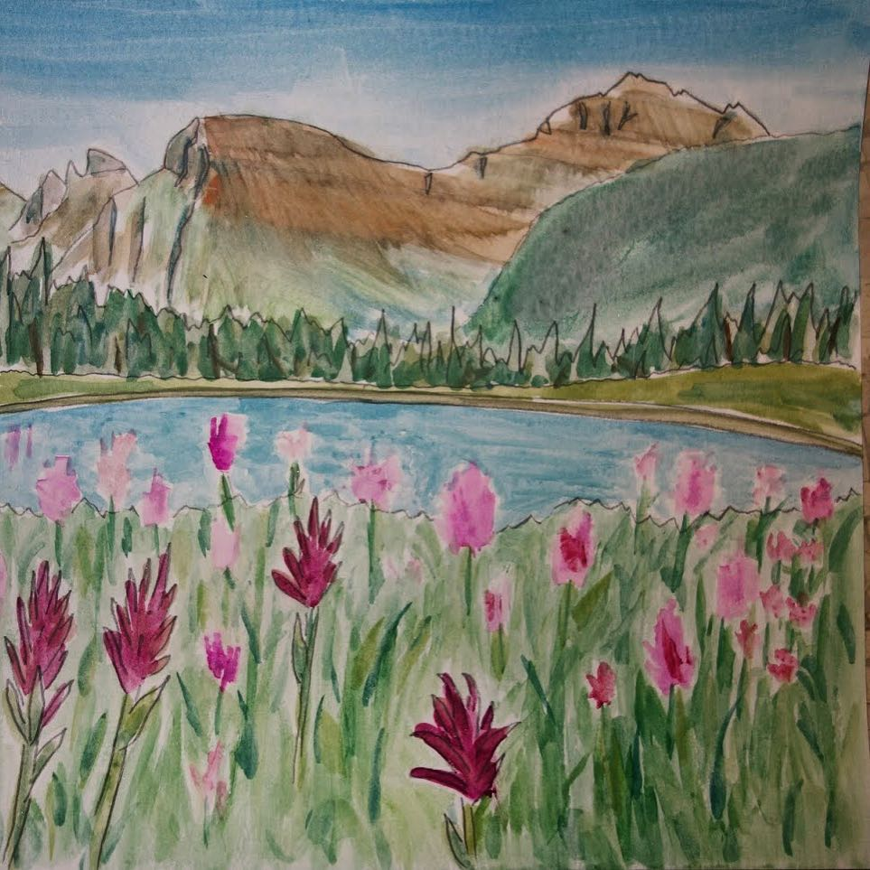 The vibrant scarlet splashes of #indianpaintbrush are a sign of high summer in the #Mountain West. What's your favorite wildflower?  Dreamy @glaciernps #watercolor by #ASCMicroplastics adventurer Sara Dykman.  #glaciernationalpark #glaciermt...