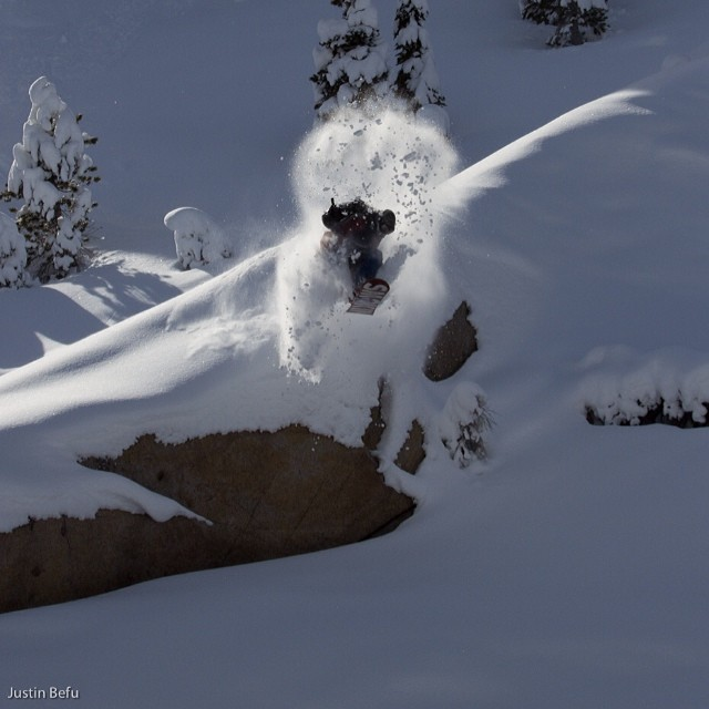 Here's a sweet shot of one of the homies from South Lake, David Biner getting some pow on his own terms!