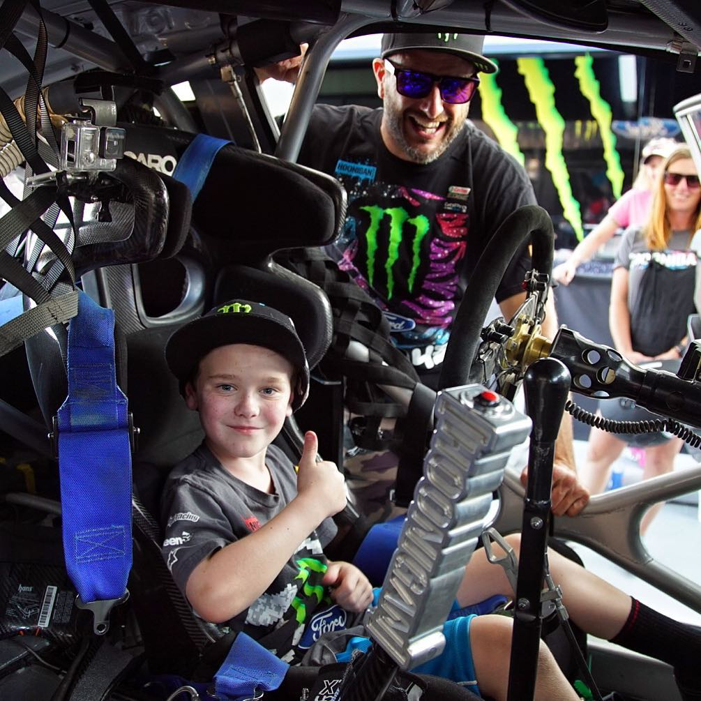 Last year this little guy, Cameron Gow, won the @KeepABreast by @DCShoes charity auction grand prize: along with winning a pair of my limited edition pink driving boots, he and his family got flown out to this weekend's #GlobalRallycross DC hang out...