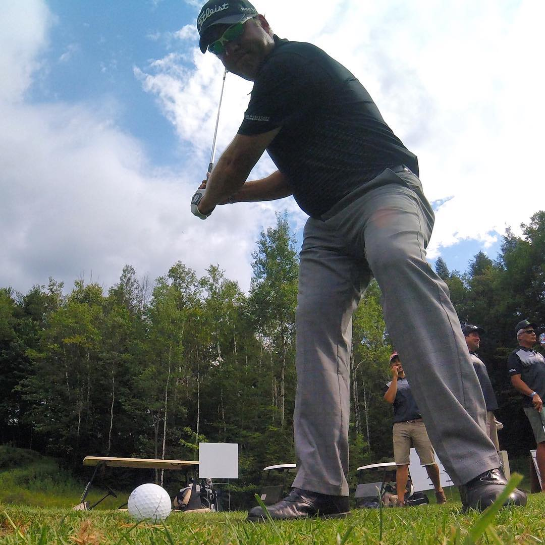 @sugarbush_vt Club Pro RJ Austin getting up close and personal at the 3rd Annual Golf Tournament through the @gopro #Hero4session #gopro