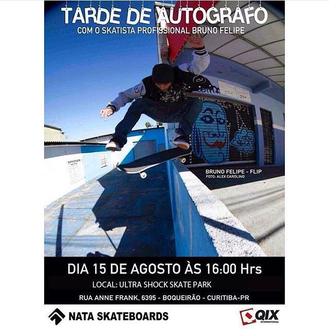 Atenção galera de #Curitiba. Hoje às 16h rola sessão de autógrafos com o skatista Profissional @brunofelipe_nata na Ultra Shock Skate Park. Cole lá e prestigie o evento.  #qixteam #qix #skate #skateboard #skateboarding #autografos #BrunoFelipe...