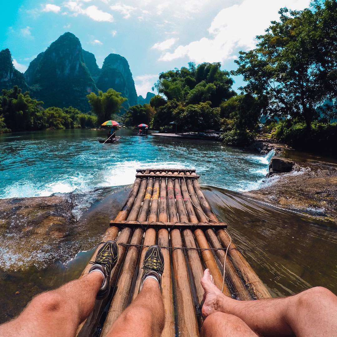 Photo of the Day! @ctgross and his father about to splashdown on the Yulong River in China. Share your best travel moments with us by clicking the link in our profile. #GoProTravel #Rafting #China