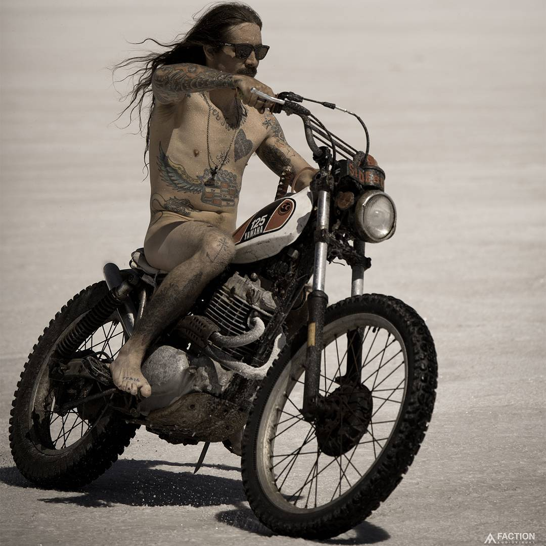 @SmokingSeagulls cruised the salt flats sans clothes in his #RealMoto edit!  Click the link on our profile page to check it out. (