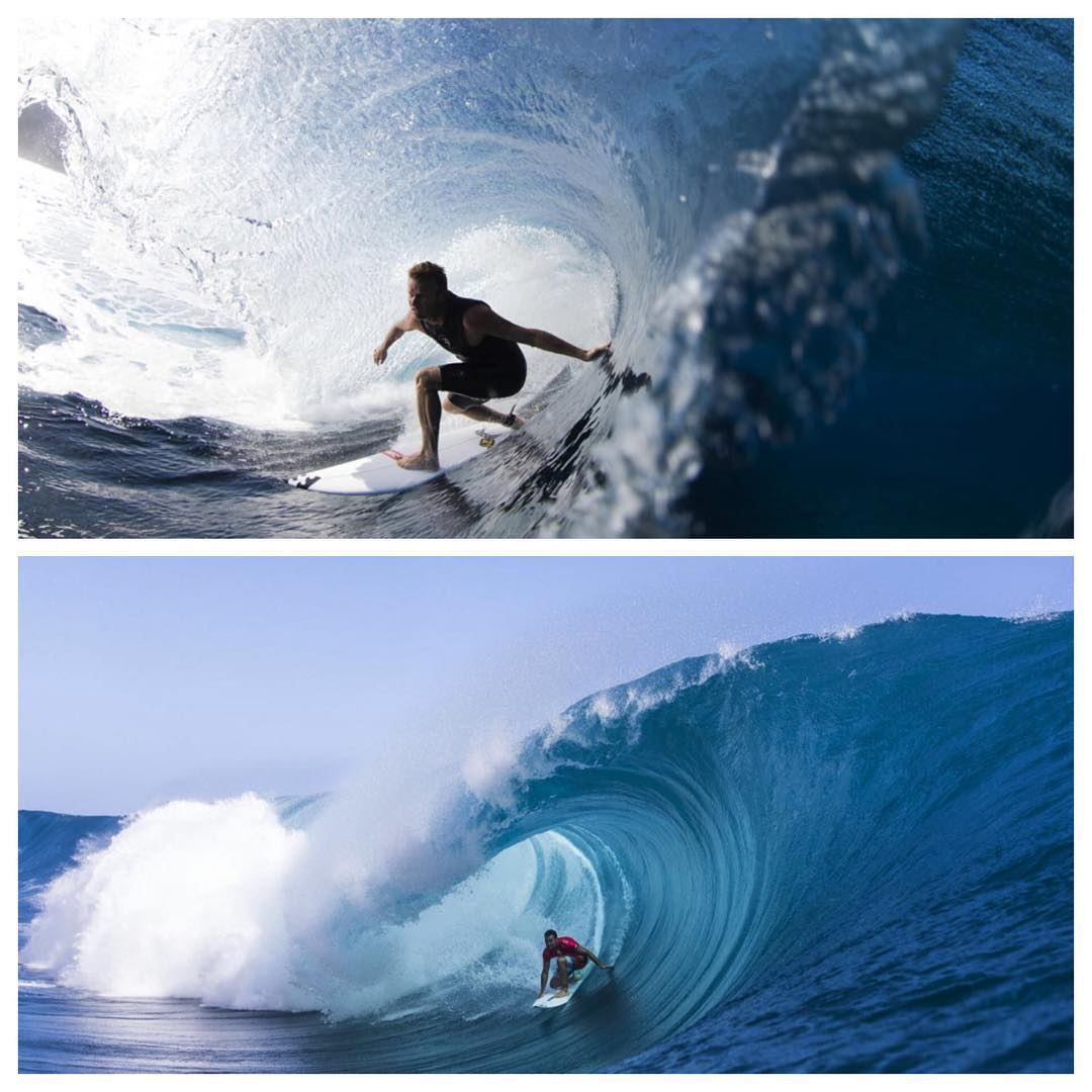 @tajamos and @joelparko are going up against each other in heat 8 with @glenhall81 coming up next. Visit worldsurfleague.com to watch the action. Who do you think will win? Glen, Joel or Taj? Let us know your pick! #billabongprotahiti @wsl