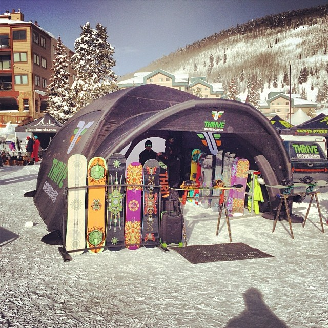 The Thrive Snowboards On Snow demo center is up and running. If you're at Copper come swing by.